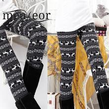 31e7abd1ac37e9 Meaneor New Fashion Women Legging Snowflake Reindeer Knitted Warm Leggings  Full Length Pants Tighten Floral Print