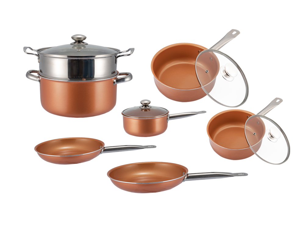 Panana Non-stick Copper Frying Pan With Ceramic Coating Saucepan With Lid Steam / Boil / Fried Kitchen Cookware Pan Set