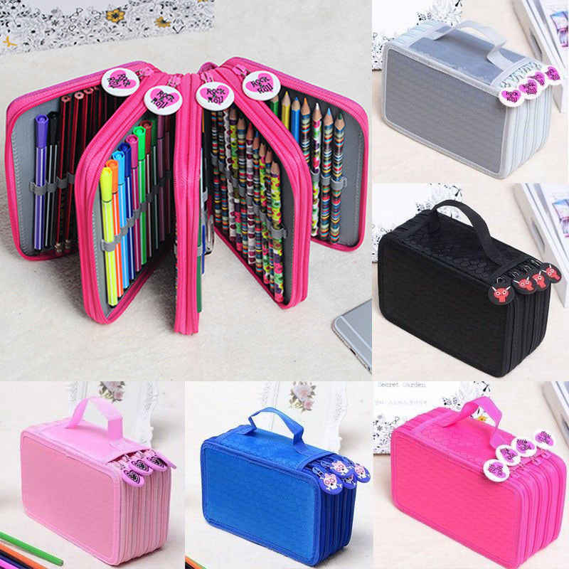 72Slots Pencil Case Storage Bags Colors Portable Drawing Sketching Nylon Pencils Pen Case Pocket Holder Bag