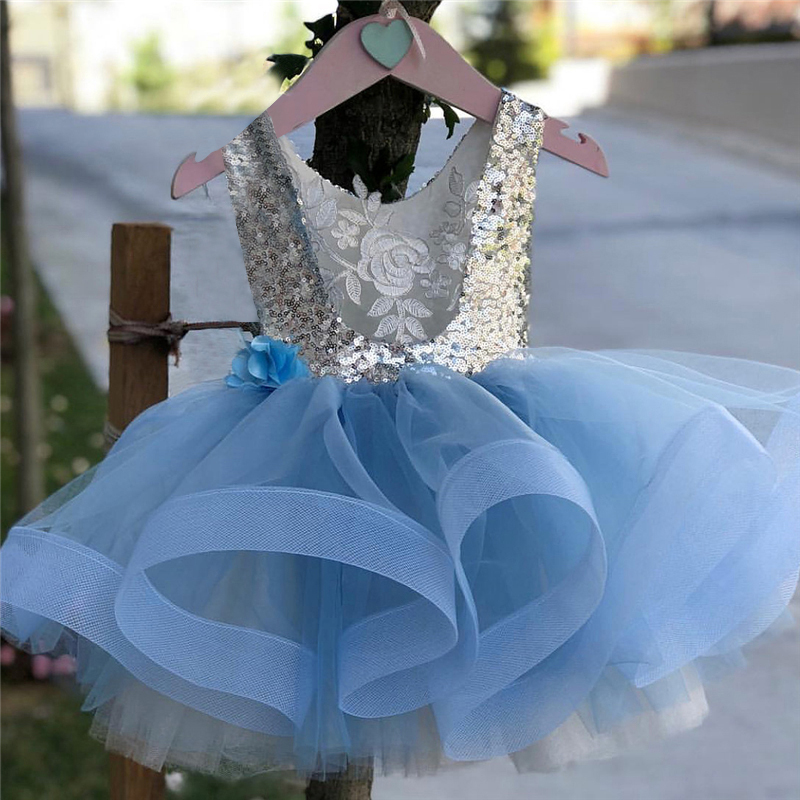 Tulle Dress Tutu Flowers Sequined Lace Toddler Blue Baby-Girls Sweet Princess Sleeveless title=