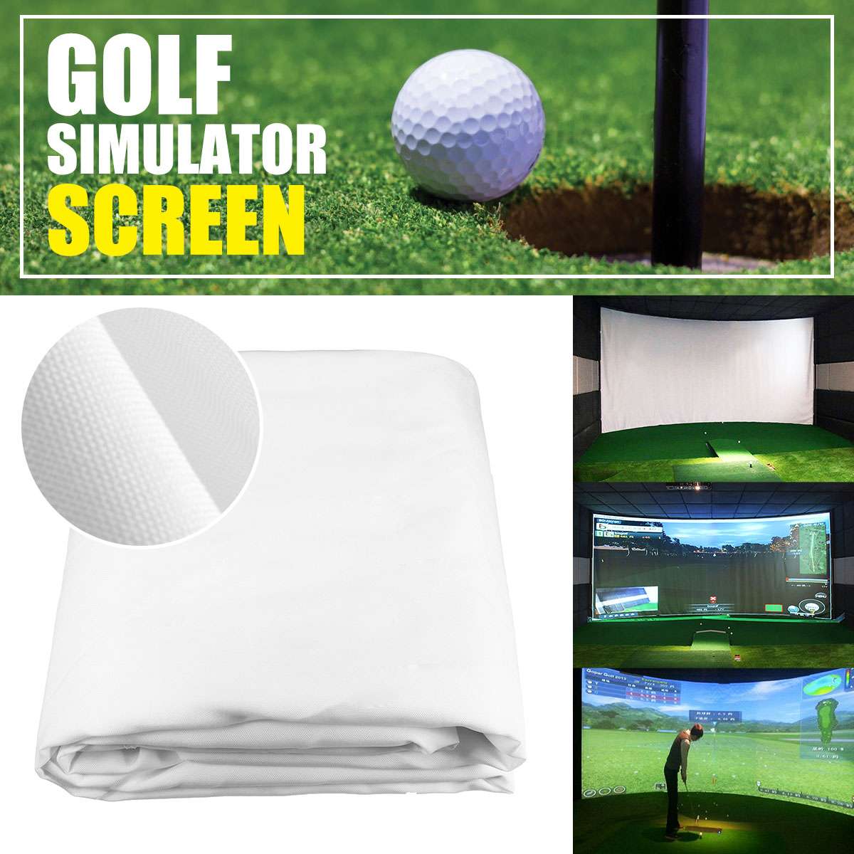 300*200CM Golf Ball Simulator Impact Display Projection Screen indoor White Cloth Material300*200CM Golf Ball Simulator Impact Display Projection Screen indoor White Cloth Material