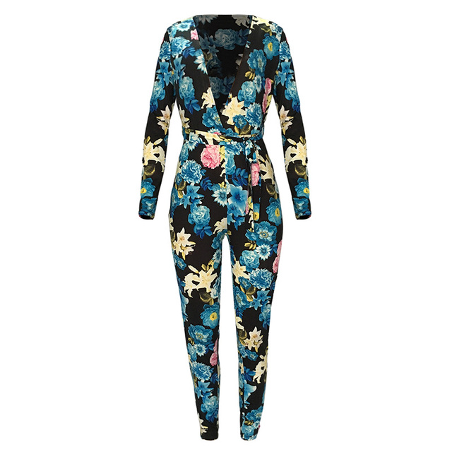 a56c5419b280 Sexy Women Jumpsuit Floral Print Deep V Neck Long Sleeve rompers womens  jumpsuit Bodycon Shorts Rompers Playsuit Black Purple