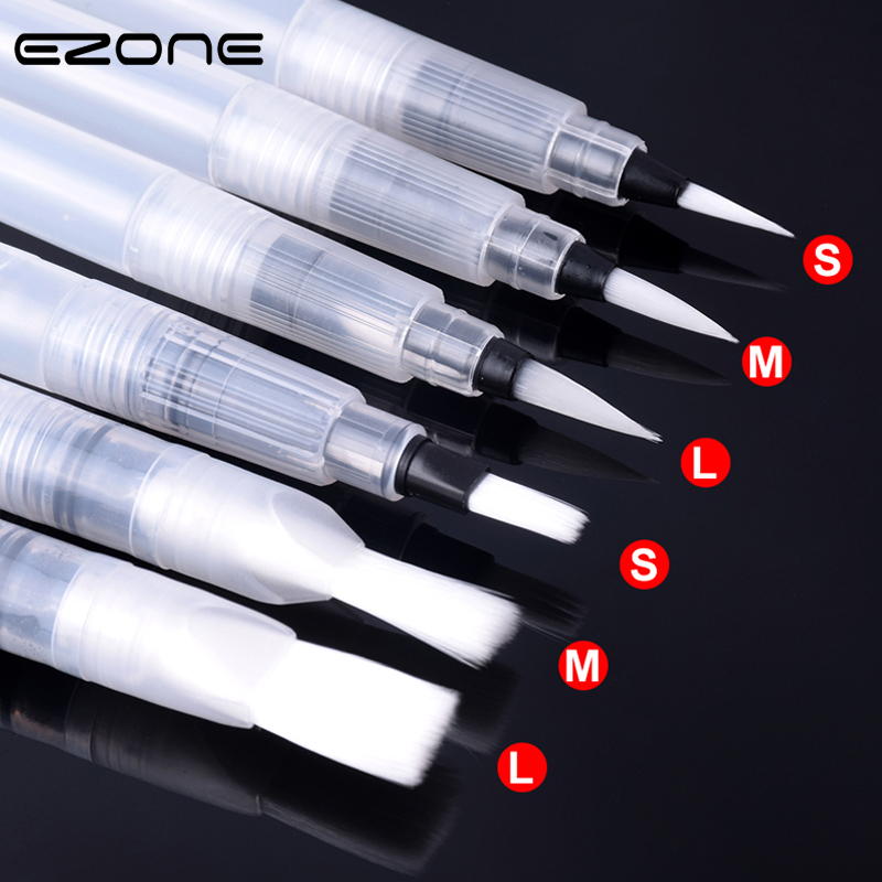 EZONE 1PC Refillable Paint Brush Sharp/Flat Hair Brush Watercolor Brush Water Storage Painting Brush Soft Head Calligraphy Pen