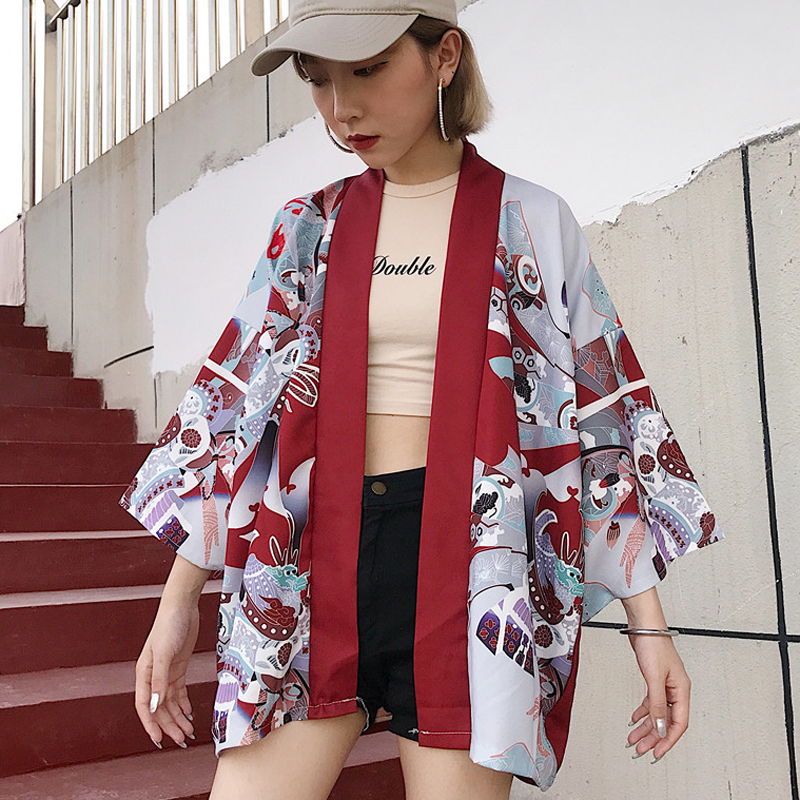 #5435 Summer Bat Sleeve Cardigan Long Kimono   Blouse     Shirt   Women Oversize Loose 3d Print Japan Style Streetwear Kimono Femme
