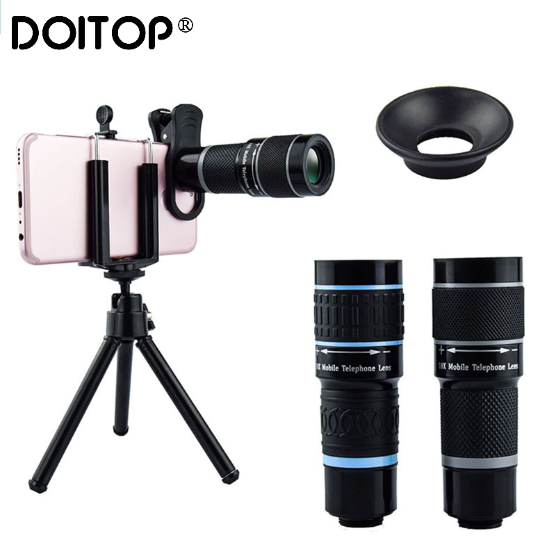 DOITOP Universal 18x25 Monocular Zoom HD Optical Cell Phone <font><b>Lens</b></font> Observing Survey <font><b>18X</b></font> telephoto <font><b>lens</b></font> with tripod for Smartphone image