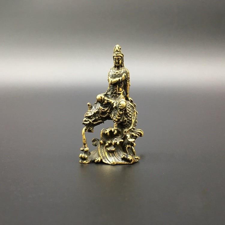 Chinese wood carving guanyin bodhisattva Buddha Riding dragon statue #2