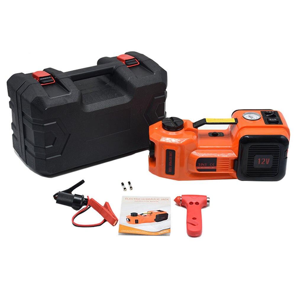 12 V voiture électrique Jack hydraulique pompe de gonflage de pneu de plancher et lampe de poche LED 3 en 1 ensemble outil de réparation de voiture