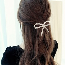 2019 Ins Pearls Hair Clip For Women Girls Luxury Bowknot Pearl Hairpins Large Size Tie Barrette Wedding Jewelry Access