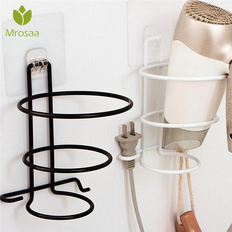 Badezimmerarmaturen Mrosaa Haar Trockner Eisen Rack Halter Organizer Badezimmer Wand Montiert Lagerung Stehen Aufhänger Haken Haushalt Haartrockner Regal