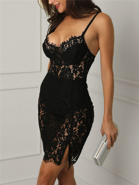 See through black short dress with lace