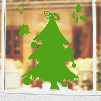 Green Christmas Tree Sticker Wall Glass Stickers New Year Window Shop Stickers Christmas Home Decoration Picture