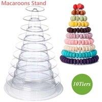 10 Tiers Plastic Macaron Tower Macaroons Rack Cupcake Dessert Display Holder Pyramid Stand Cake Decor Tools Wedding Decoration