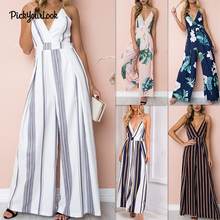hot deal buy pickyourlook summer jumpsuit v neck floral print rompers womens jumpsuit spaghetti strap jumpsuits wide leg sleeveless jumpsuits