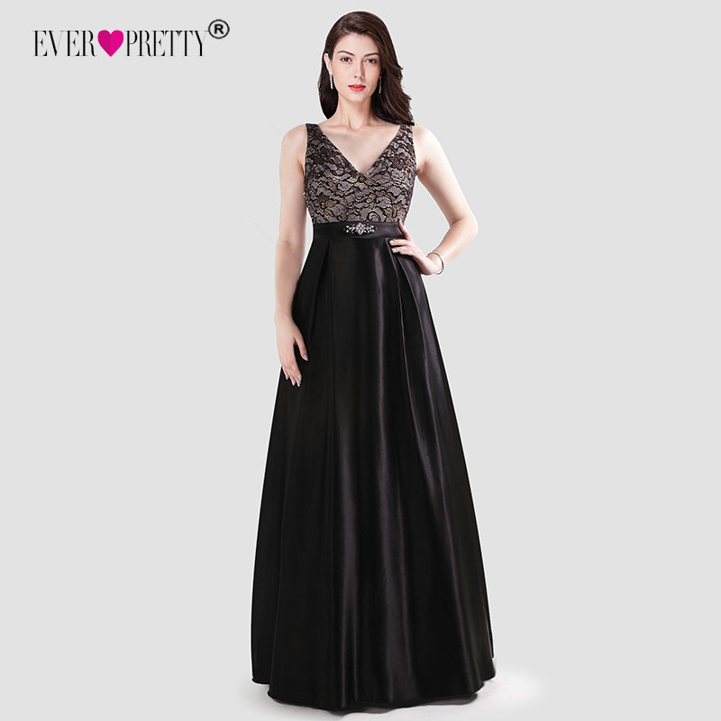 Ever Pretty   Prom     Dresses   Long 2019 New Year V-neck Satin Lace Appliques Sleeveless Special Occasion Gowns Elegant Robe De Bal