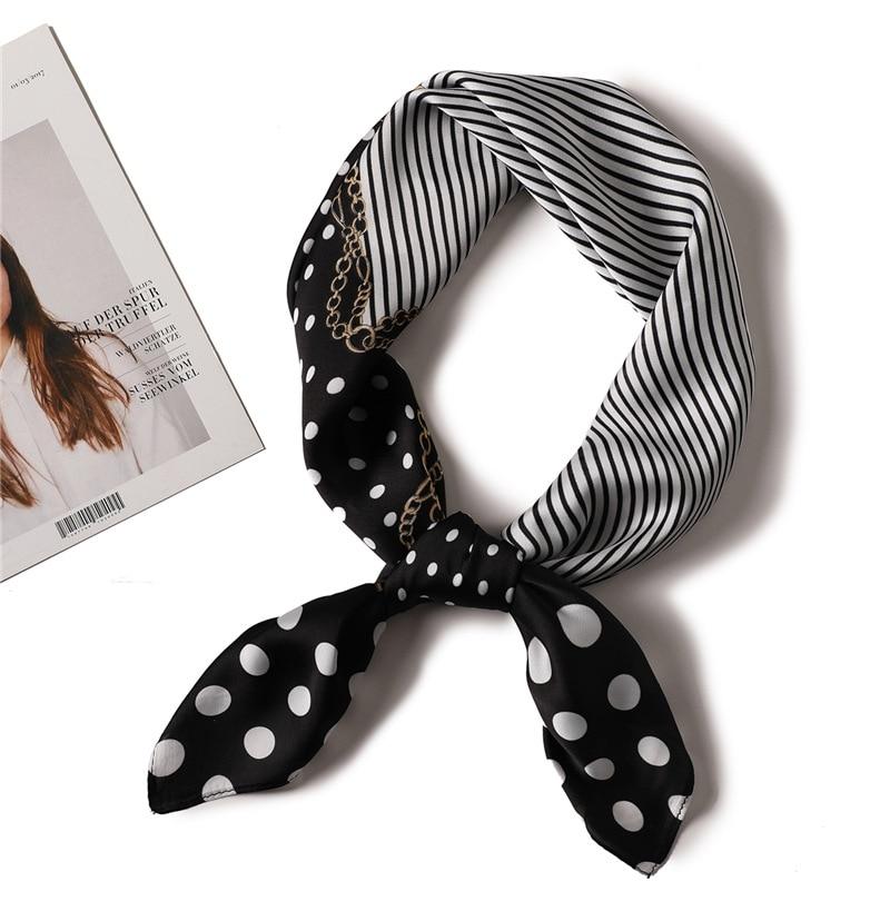 Brand designer silk scarf for women 2019 new spring summer neck  head scarf Dot chain striped pattern foulard bandana shawl wrap