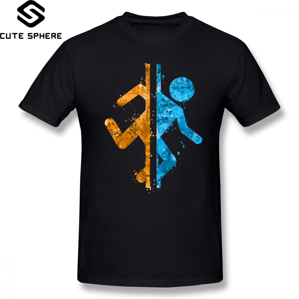 Portal   T     Shirt   Portal Splatter   T  -  Shirt   Printed Casual Tee   Shirt   Mens Cute 5x Cotton Short Sleeves Tshirt