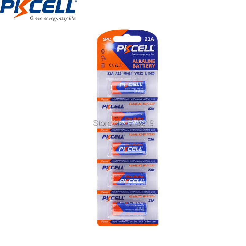 5PCS/card PKCELL 23a <font><b>12v</b></font> battery 8F10R 8LR23 8LR932 CA20 K23A L1028 23AE 21/23 <font><b>A23</b></font> Alkaline batteries Primary and Dry battery image