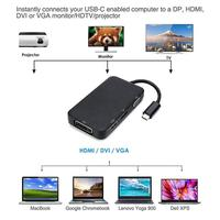 USB C To 4K HDMI/DisplayPort / VGA/DVI Adapter Weton 4 In 1 Type C 3.1 To HDMI VGA DVI DP Multiport Converter