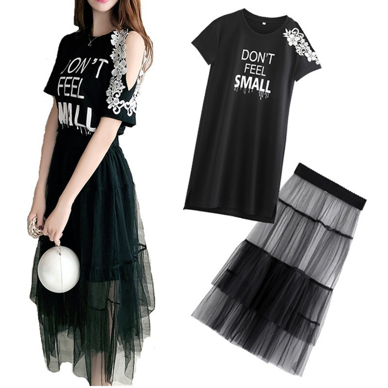 2 Piece Set 2019 Summer Women Lace Cold Shoulder Cotton T-shirt Dress +Mesh See Through Skirt Suits Letter Print Sweet Sundress