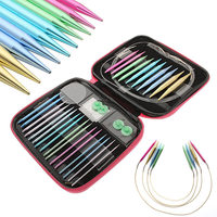 13 Sizes/Set Interchangeable Aluminum Circular Knitting Needle Sets 2.75mm-10mm New WXV Sale