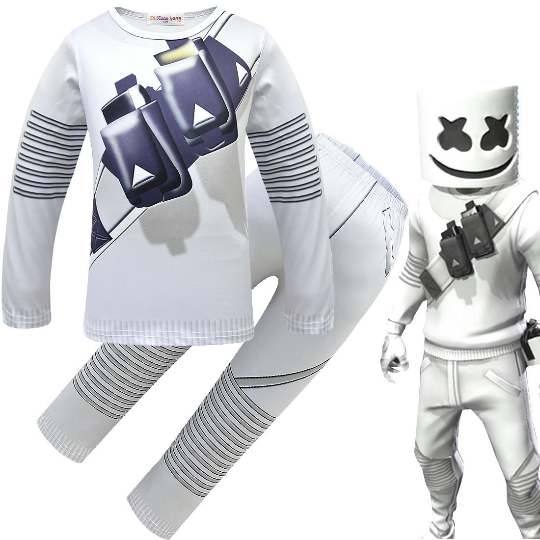 DJ Marshmello Cosplay Costume Boys Girls Sweatshirts Set Kids  Halloween Carnaval Costume with Full Face Luminous Mask Helmet