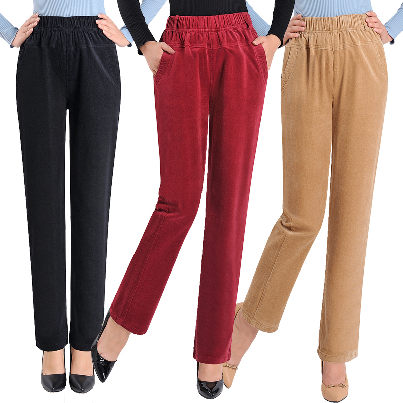 New Fashion Women's Elegant High Waist Casual Corduroy Harem Pants Ladies Candy Color Pocket Pants Plus Size 5XL Trousers
