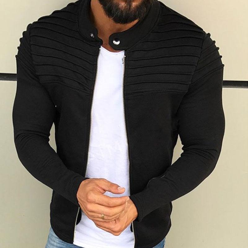 New Men's Winter Zip Up Slim Collar Shoulder Ruched Jacket Tops Long Sleeve Casual Coat Outerwear Fleece Jacket