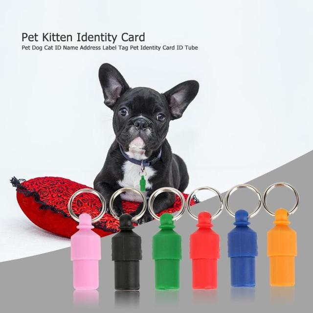Anti-Lost Pet Dog Cat ID Nome Indirizzo Etichetta Tag Barrel Tubo Pet Gattino Ca