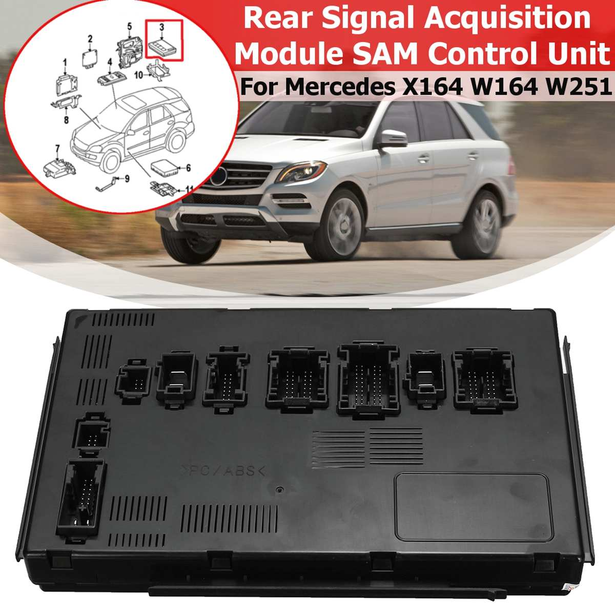 1 pièces pour mercedes-benz X164 W164 W251 GL320 GL350 Module d'acquisition de Signal arrière SAM unité de contrôle véritable 1649005401