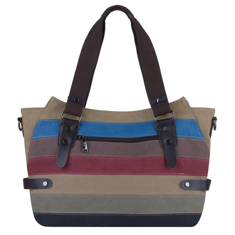 Patchwork Colorful Stripe Printed Female Handbag High Quality Canvas Women Shopping Shoulder Bag Casual Ladies Tote