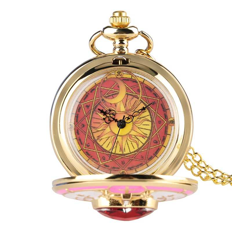 Unique Women Magic Rhinestone SAKURA Quartz Pocket Watch Gold Sailor Moon Necklace Pendant Chain Cosplay Gifts for Girls Women