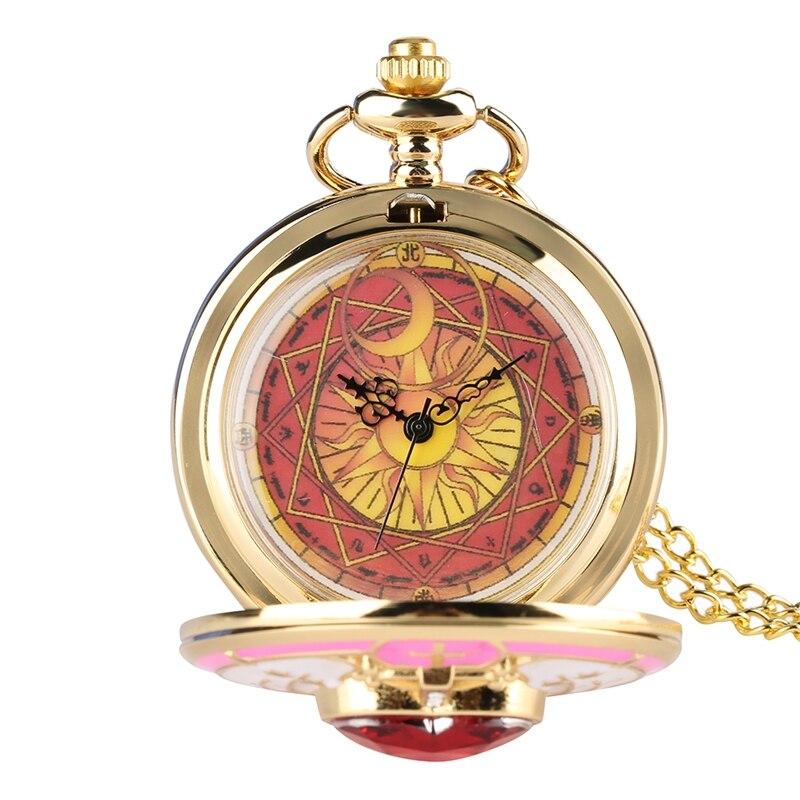 Unique Women Magic Rhinestone Sakura Quartz Pocket Watch Gold Necklace Pendant Chain Cosplay Gifts For Girls Student Women Kids Elegant Appearance Watches