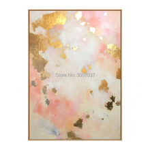 Big 100% hand-painted gold and pink abstract oil painting modern wall art living room no frame picture home decoration
