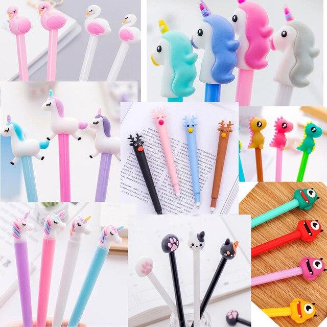 31 sztuk/zestaw śliczne canetas zwierząt długopis żelowy jednorożec kawaii 0.5mm czarny tusz długopisy prezent biurowe biurowe szkolne Canetas