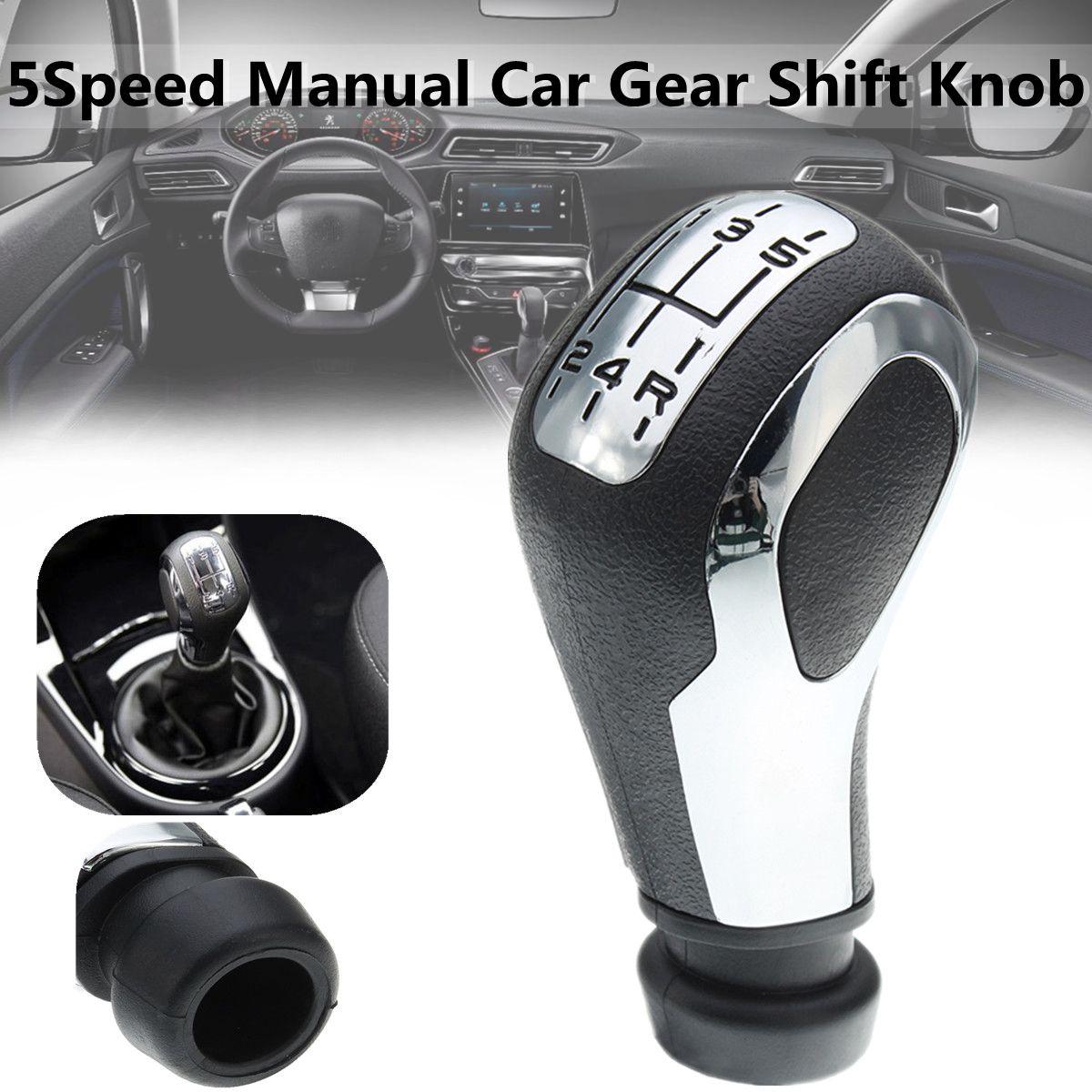 5 Speed Chrome Mt Auto Pookknop Hoofd Shifter Lever Stick Voor Peugeot 106 206 206cc 207 307 407 Klanten Eerst