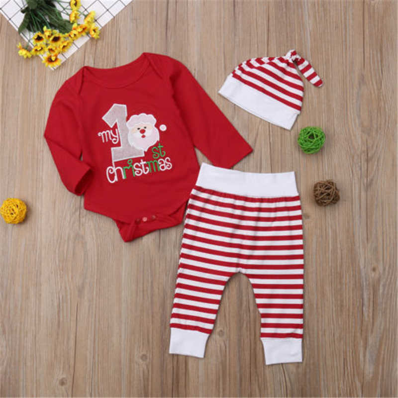 e5a04b49f 0-2Years New My First Christmas Baby Boy Girl Romper Bodysuit+ Pants Clothes  Outfit 0