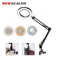 NEWACALOX Flexible Desk Large 2.5X USB LED Magnifying Glass 3 Colors Illuminated Magnifier Lamp Loupe Reading/Rework/Soldering