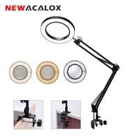 NEWACALOX Flexible Desk Large 5X USB LED Magnifying Glass 3 Colors Illuminated Magnifier Lamp Loupe Reading/Rework/Soldering