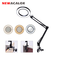 NEWACALOX Flexible Desk Large 5X USB LED Magnifying Glass 3 Colors Illuminated Magnifier Lamp Loupe Reading/Rework/Soldering