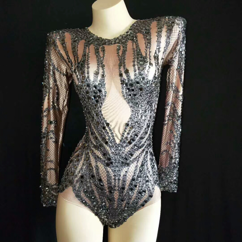 Sparkly Black Crystals Nude Bodysuit Women Performance Outfit Costume Party Celebrate Glisten Rhinestones Leotard Stage Wear