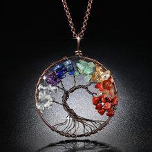 489e80030c97a Beiver 7 Chakra Arbre De Vie Pendentif Collier De Cuivre Cristal Naturel  collier de pierre Quartz Pierres Pendentifs Femmes cade.