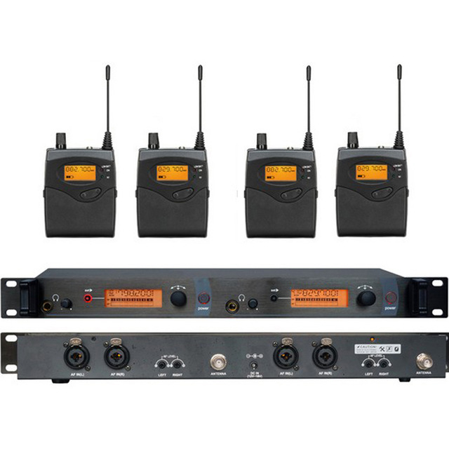 LEORY UHF EU 2 Kanal Drahtlose Mikrofon Monitor System 4 Taschensender <font><b>In</b></font> Ohr Wireless Monitor System image