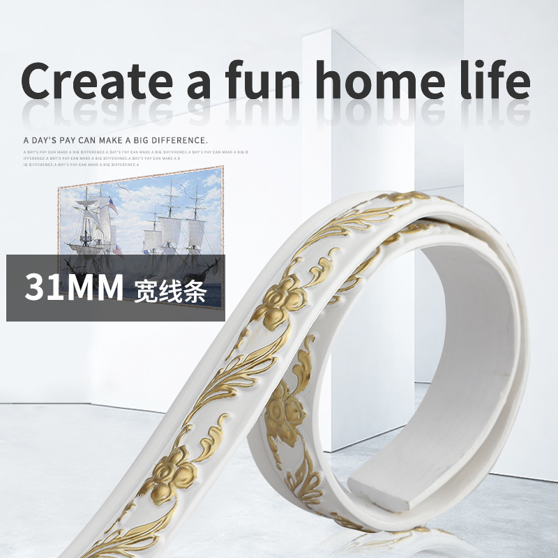 European Decorative Soft Plaster Line Mirror Dege TV Background Wall PVC Border Edge Self-adhesive DIY