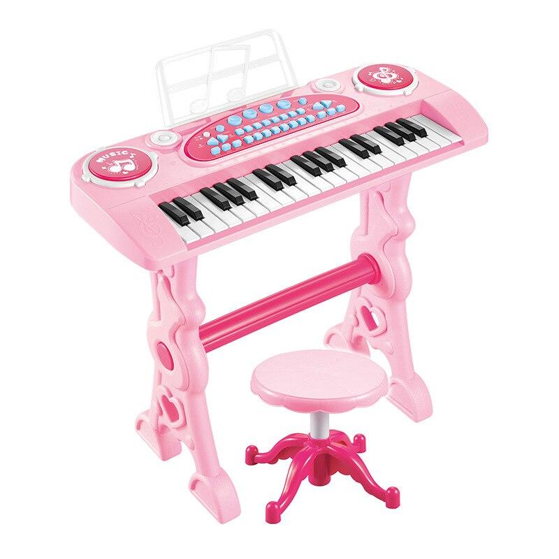 Rose 37 touches clavier électronique Piano avec micro adaptateur chaise Double adaptateur secteur entrée automatique contrôle du Volume orgue électronique