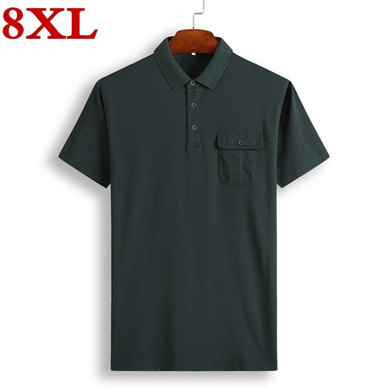 Vska Mens Plus-Size Casual Stripes Polo Patched Thin T-Shirt Top