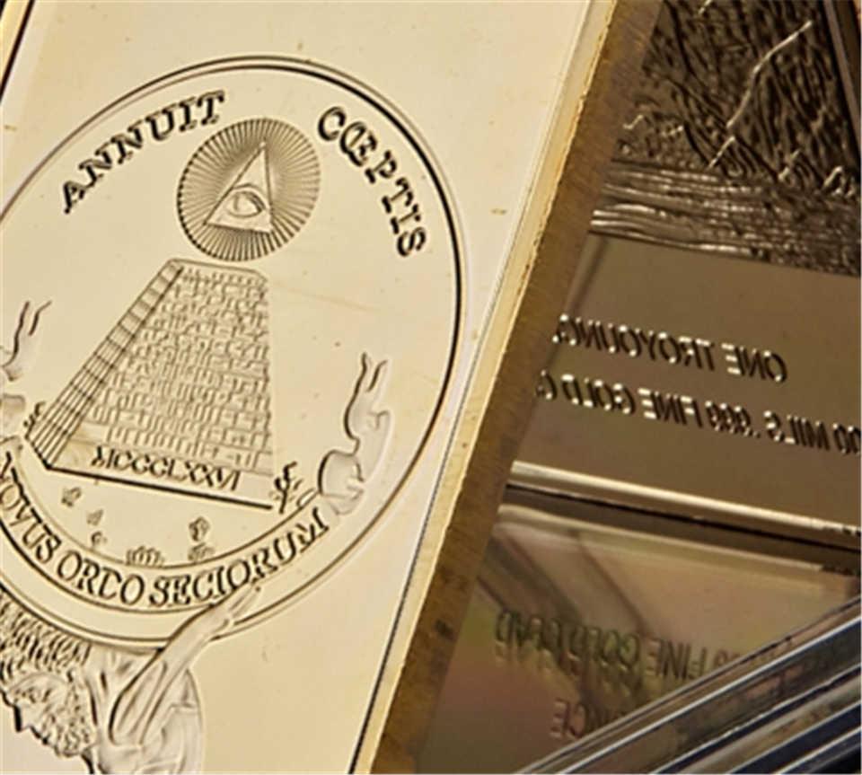 Symbole poétique du monde, Rare illumini, Novus Ordo Seclorum, réplique en métal plaqué or, à collectionner de barres d'or pour cadeau, 1776