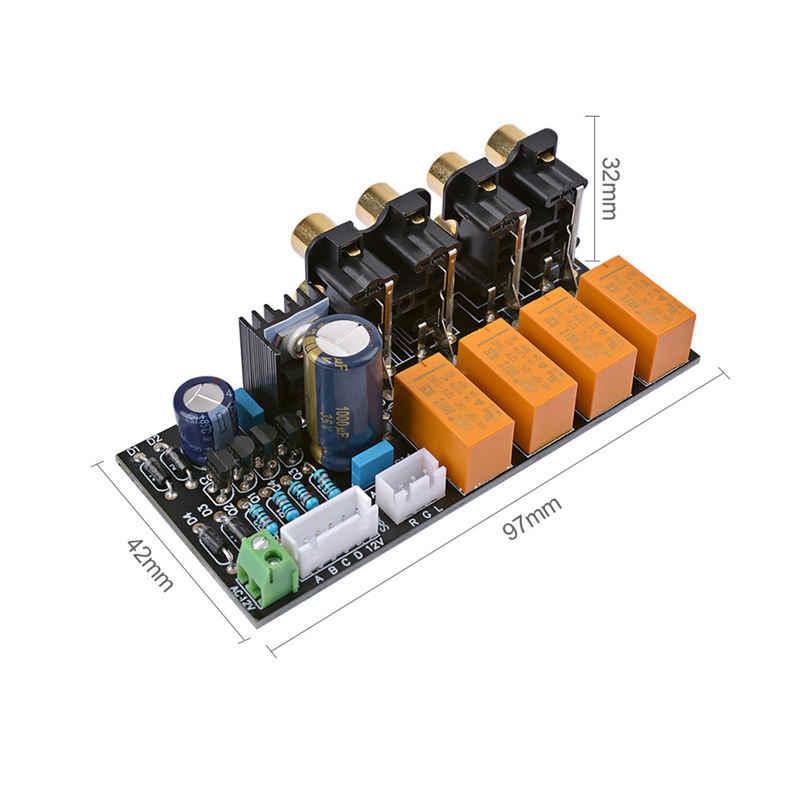 RCA Audio Switch Pilihan Input Papan Relay 4-Way Audio Sinyal Input Selector Amplifier Penguat