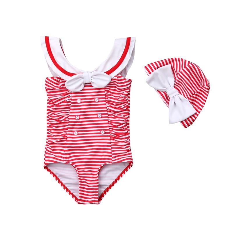 0-24 M Neugeborenen Baby Mädchen Gestreiften Bikini Einteiliges Bademode Rot Bowknot Ärmel Badeanzug 2019 Mode Bade Anzug + Strand Kappe Exzellente QualitäT