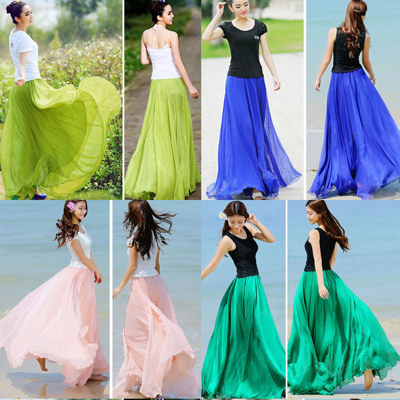 Hot Sale Women Girls Fashion Casual Solid Double Layer Skirt Beach Casual Skirt