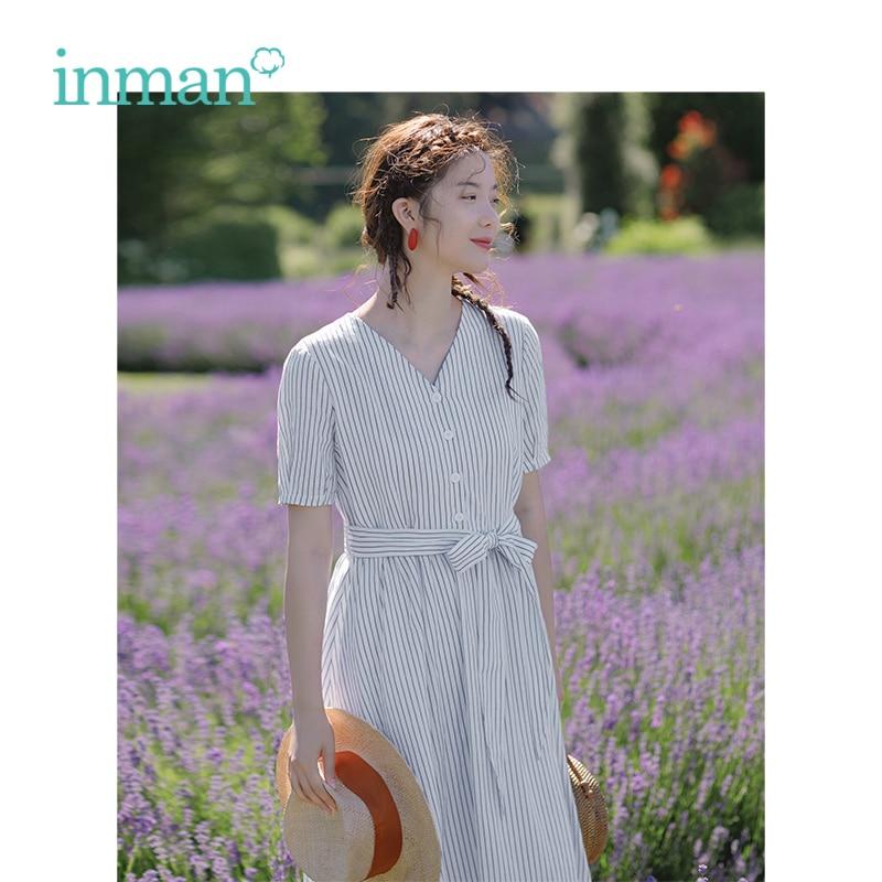 INMAN 2019 été nouveauté coton col en v lin bleu-blanc rayé littéraire lâche moyenne longue femmes robe